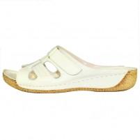 Papuci piele naturala dama bej Adeline Nela-Bej