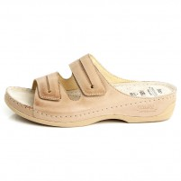 Papuci piele naturala dama bej Dr. Batz medicinali Lia-Bej