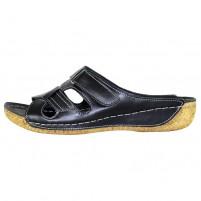Papuci piele naturala dama negru Adeline Nela-Negru