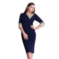 Rochie dama de ocazie eleganta albastru Per Donna midi Mirela-81251-Albastru