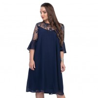 Rochie dama de ocazie eleganta cu dantela albastru Per Donna midi Denis-11826-albastru