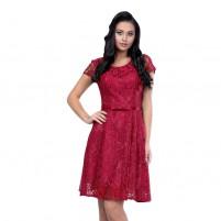 Rochie dama de ocazie eleganta cu dantela rosu Per Donna midi Sonia-51452-Rosu
