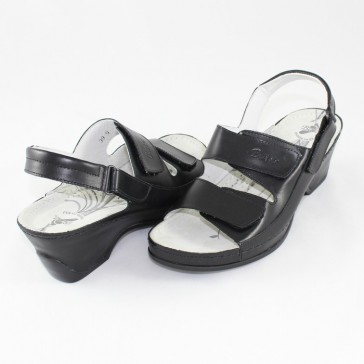 Sandale piele naturala dama negru Dr. Batz medicinali VKSZ-Black