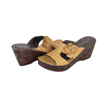 Saboti piele naturala dama maro Colly 4520-1-Vitello-Ocro