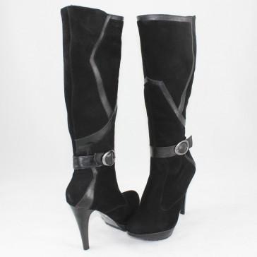 Cizme piele intoarsa dama negru Nike Invest iarna C258-NegruBufo