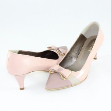 Pantofi piele naturala dama roz Nike Invest toc mediu M421-Bej-Pud-L