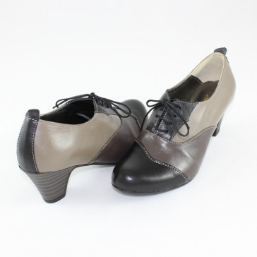 Pantofi piele naturala dama bej gri negru Nike Invest toc mediu M529-NGri