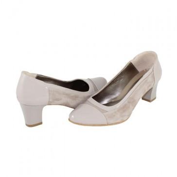 Pantofi piele naturala dama bej gri Nike Invest toc mic M578-GriLB27