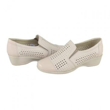 Pantofi Nicolis - bej, din piele naturală