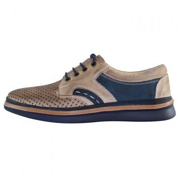 Pantofi piele naturala barbati maro bleumarin Dogati shoes DC-218-08-53