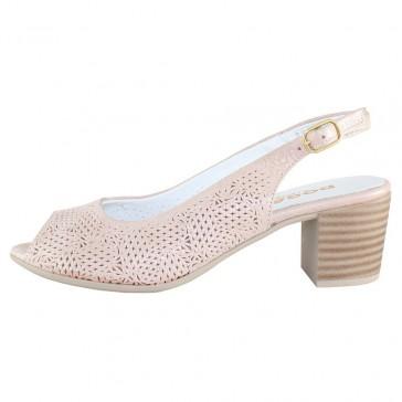 Pantofi piele naturala dama roz Dogati shoes toc mic 803-10-Pudra