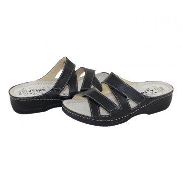 Papuci medicinali Dr. Batz - black, din piele naturală