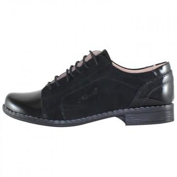Pantofi piele intoarsa dama negru Nicolis lac 14238-Negru-LV