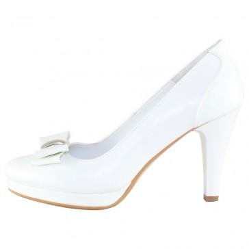 Pantofi piele naturala dama alb Nike Invest toc mediu M410-ALBox