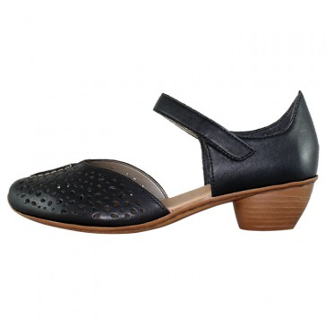 Pantofi piele naturala dama negru Rieker toc mic 43795-01-Black