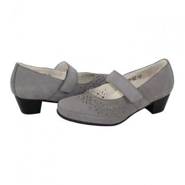 Pantofi piele naturala dama gri Waldlaufer toc mic medicinal 590305-162-088-Hosana