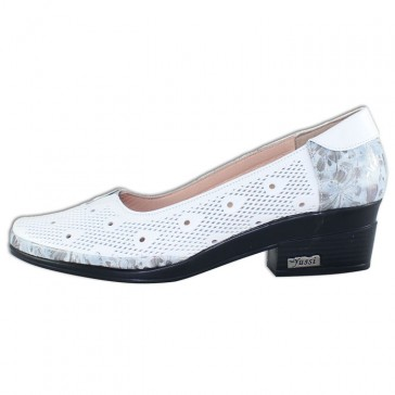 Pantofi piele naturala dama alb Yussi toc mic 295-T-42-246-26