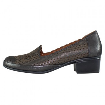 Pantofi piele naturala dama gri Yussi toc mic 552-T-08-17