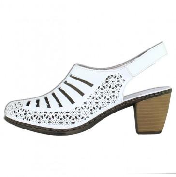 Pantofi piele naturala dama alb Rieker toc mediu 40959-80-Weiss