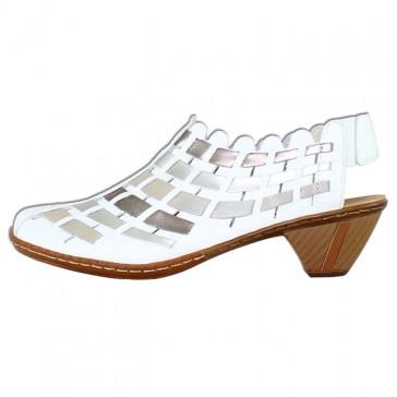Pantofi piele naturala dama alb Rieker toc mic 46778-81-White-combination