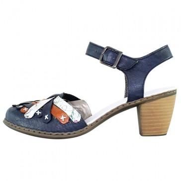 Pantofi piele naturala dama bleumarin Rieker toc mediu 40970-14-Blue-combination