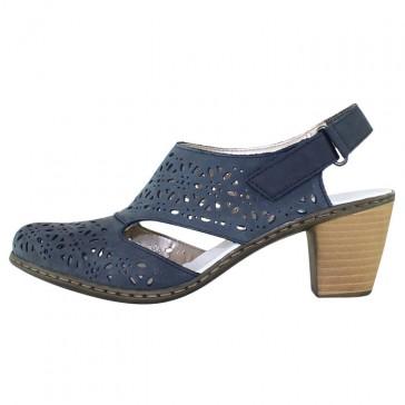 Pantofi piele naturala dama bleumarin Rieker toc mediu 40977-14-Blue