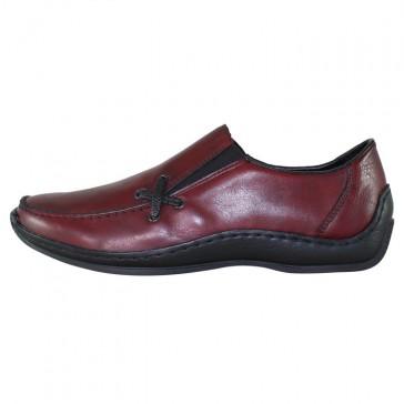 Pantofi piele naturala dama visiniu Rieker relax confort L1783-36-Red