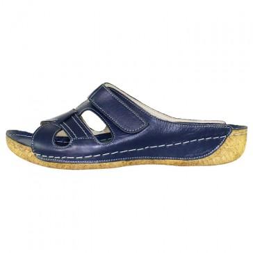Papuci piele naturala dama bleumarin Adeline Nela-Blue