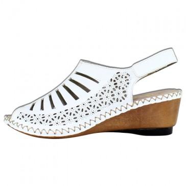 Sandale piele naturala dama alb Rieker 66159-80-Weiss